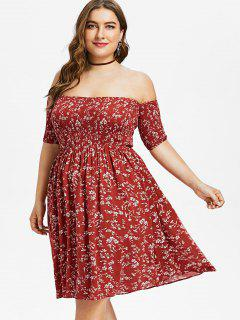 Plus Size Floral Off Shoulder Smocked Dress - Red Wine L
