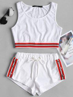 Striped Band Crop Top Shorts Two Piece Set - White L