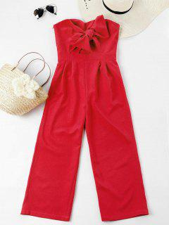 Bowknot Tube High Waisted Jumpsuit - Fire Engine Red S