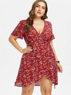 Plus Size Surplice Floral Wrap Dress - Red Wine L