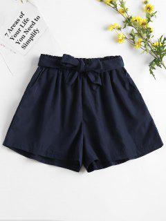 High Waisted Paper Bag Shorts - Deep Blue L
