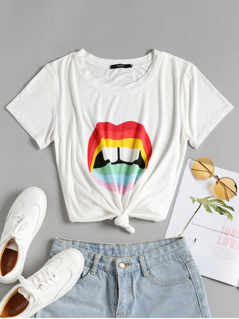 women's Knotted Colorful Lips Tee - WHITE L Mobile