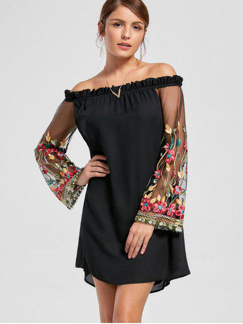 lady Embroidery Flare Sleeve Off The Shoulder Dress - BLACK L Mobile