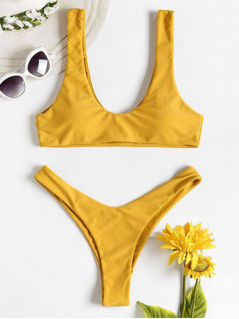 affordable High Leg Padded Tank Bikini - SUN YELLOW L Mobile
