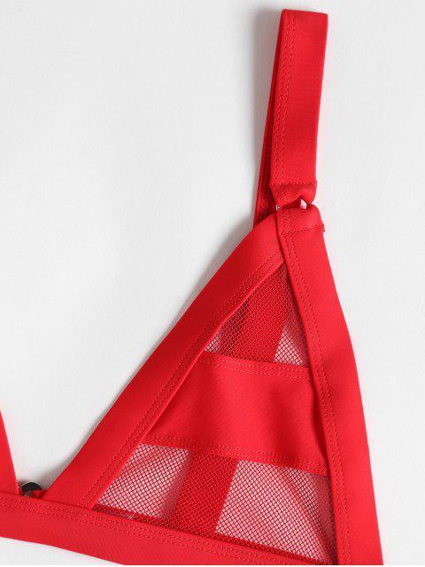 Bikini de Vendaje de Malla con Panel de Malla ZAFUL - Rojo M Mobile