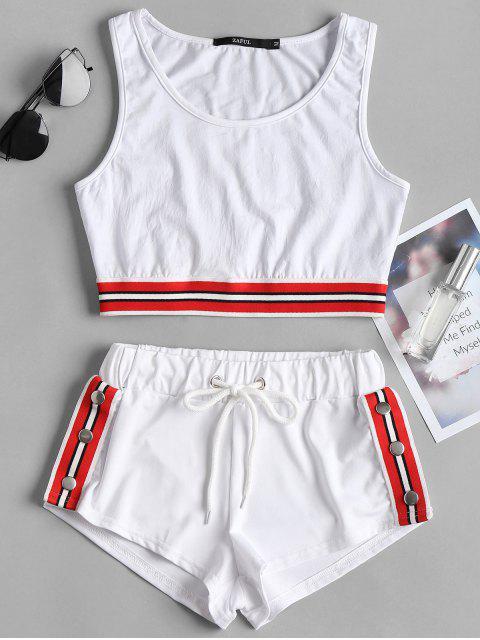 Gestreiftes Band Crop Top Shorts Zweiteiliger Set - Weiß S Mobile