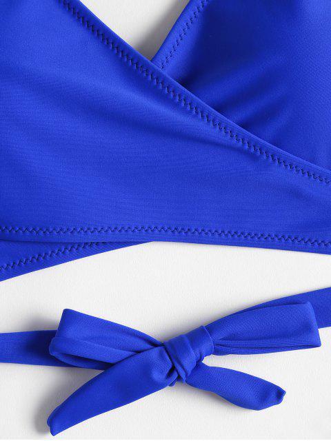 latest High Cut Wrap Bikini Set - COBALT BLUE S Mobile
