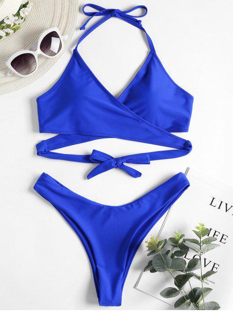 trendy High Cut Wrap Bikini Set - COBALT BLUE M Mobile