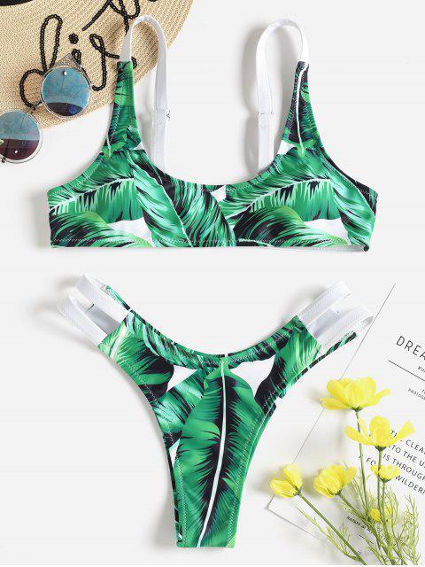 affordable Leaf Print Cutout Bralette Bikini Set - SHAMROCK GREEN M Mobile