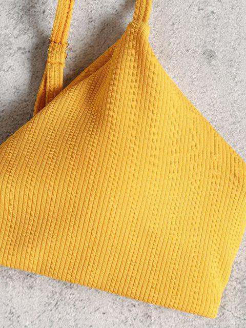 Hohes Bein Geripptes Bikini Set - Goldgelb S Mobile