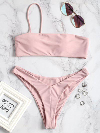 One-shoulder High Cut Bikini Set - Pink L