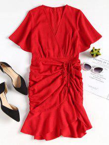فستان بحافة دائرية من Pep Hem - كستنائي أحمر S