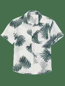 En Botones Camisa Hojas Las Bolsillo Estampados Verde Con Del M r5PnrqWtw