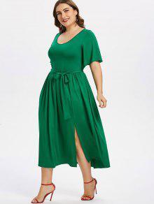 بالإضافة إلى حجم شق فستان مربوط - الغابة الخضراء 3x