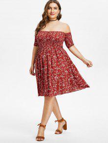 8440b42f425c 23% OFF] 2019 Plus Size Floral Off Shoulder Smocked Dress In RED ...