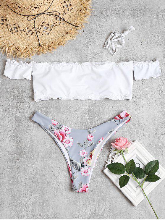 Bikini Floreale A Balze Con Spalle Scoperte - Bianco L