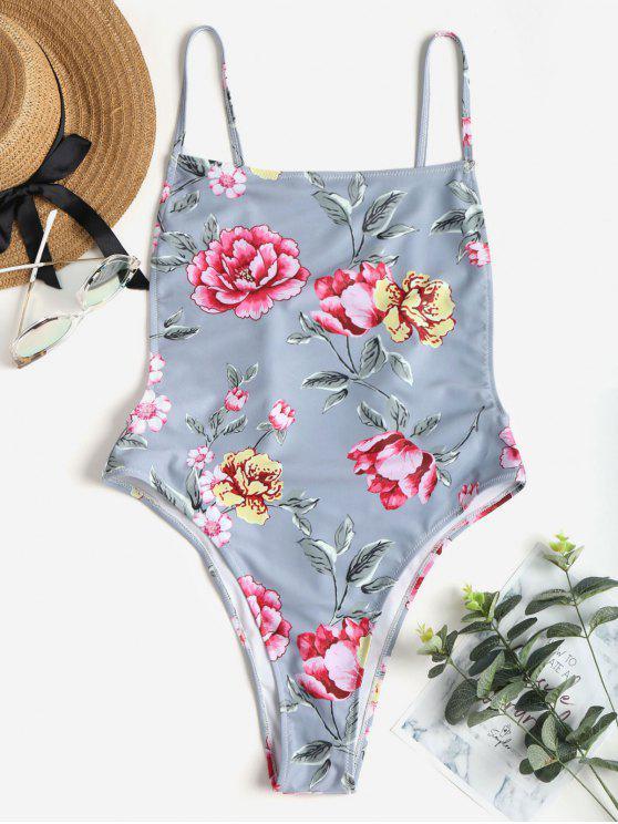 انخفض ثوب السباحة بذلة الزهور - متعدد S