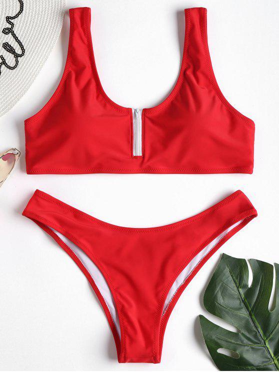 Reißverschluss Tank Bikini Set - Liebes Rot M