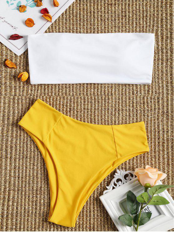 Bikini Set A Fascia In Due Toni Con Taglio Alto - Giallo M