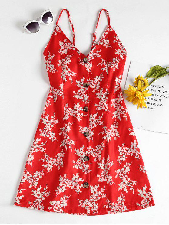 women's Button Up Floral Print Cami Dress - RUBY RED L