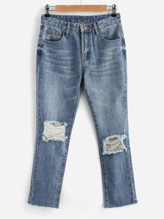 trendy Zippered Ripped Jeans - JEANS BLUE M