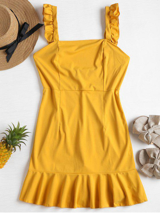 unique Ruffle Strap Mini Sun Dress - MUSTARD L