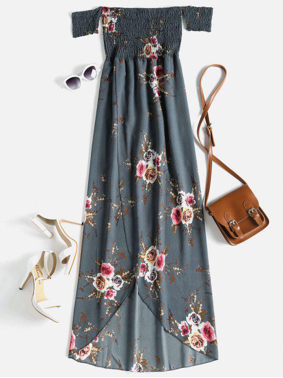 buy Floral Off The Shoulder High Low Dress - SLATE GRAY L