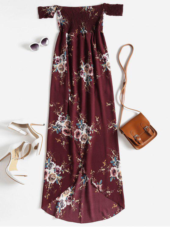 Robe Florale Florale à Epaules Dénudées et Ourlets Asymétrique - Rouge Vineux L