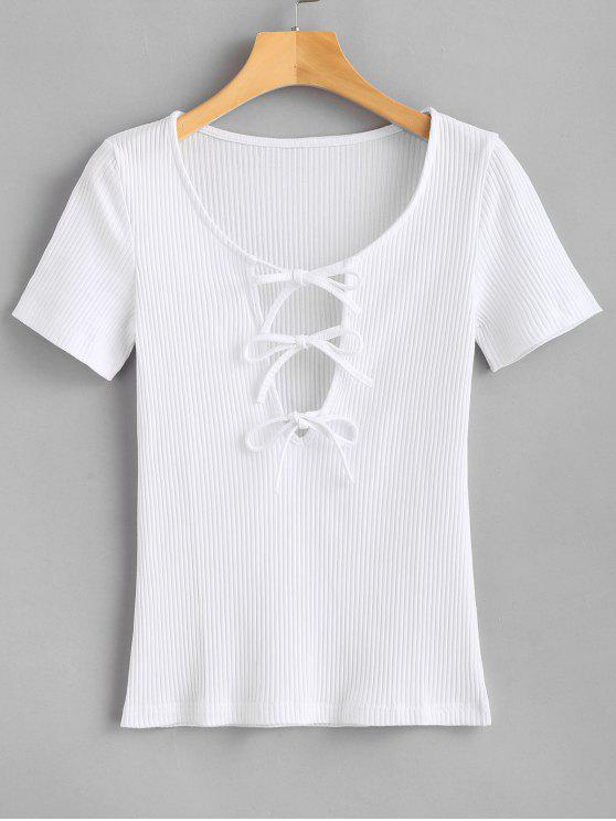 outfit Tied Bowknot Tee - WHITE L