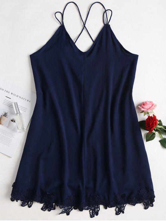trendy Mini Strappy Slip Dress - MIDNIGHT BLUE L