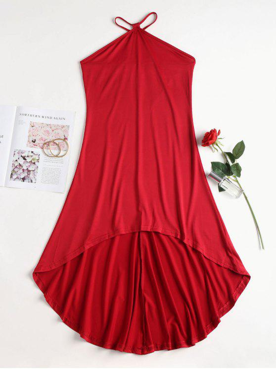 chic V Strap High Low Slip Dress - RED M