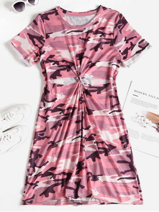 sale Camo Print Knotted Cutout Tee Dress - PINK L