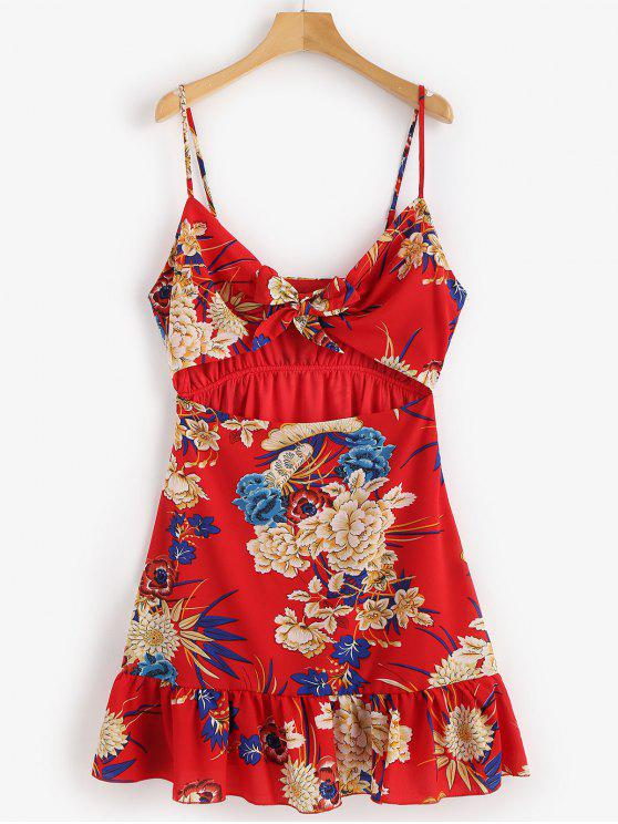 lady Tie Front Orient Floral Mini Cami Dress - LOVE RED XL