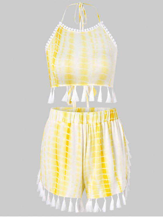 new Tie Dye Tassels Shorts Set - YELLOW XL