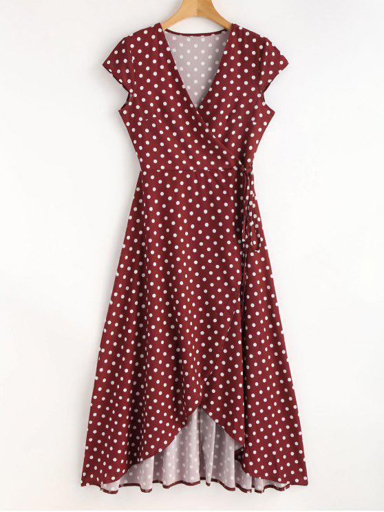 hot Polka Dot Maxi Wrap Tea Dress - RED WINE L