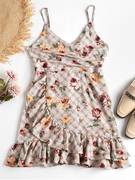 Babados floral deslizamento vestido - Amêndoa Branqueada L