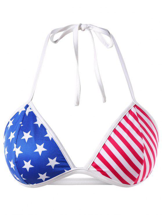 Top de sujetador de bandera americana de talla grande - Multicolor 1X