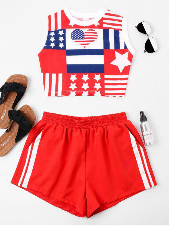 hot American Flag Sleeveless Shorts Set - RUBY RED M