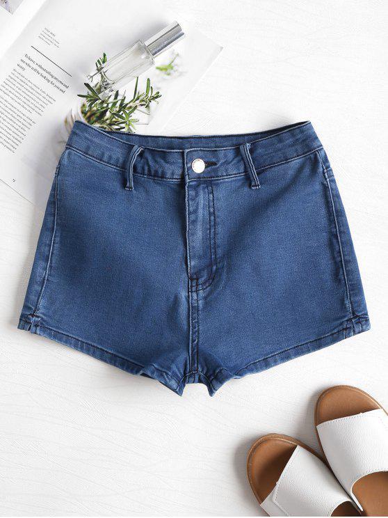 latest Patchwork Denim Shorts - DENIM DARK BLUE L