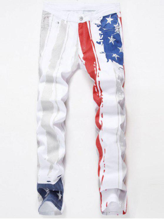 unique Stars and Stripes Printed Stretch Jeans - WHITE 32