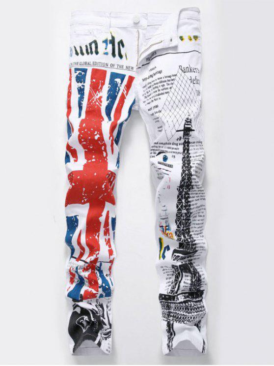 women's British Flag and Eiffel Tower Printed Jeans - WHITE 34