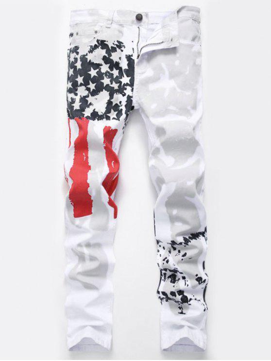 العلم الأمريكي مطبوعة تمتد جينز مستقيم - أبيض 32