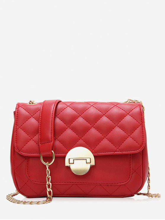 women Retro Quilted Flap Chain Crossbody Bag - RED