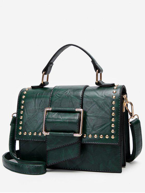 lady Minimalist Flapped Studs PU Leather Crossbody Bag - GREEN