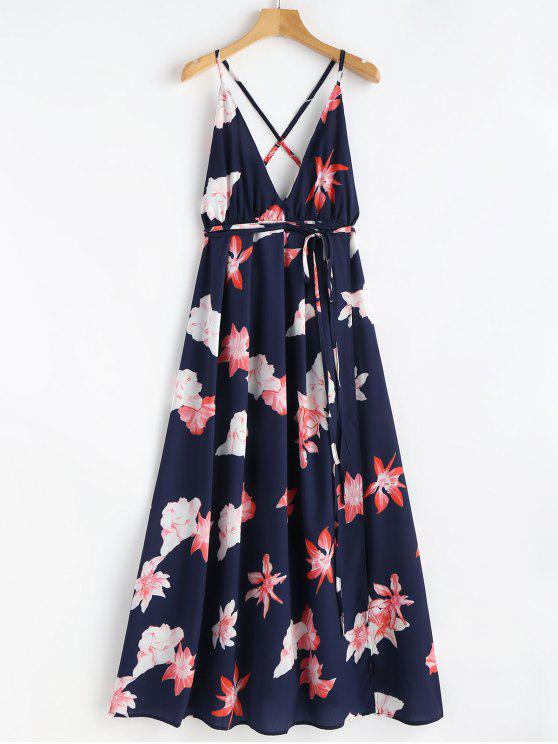 women Floral Print Tie Up Maxi Beach Dress - BLUE L