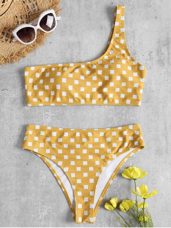 unique Geometric Print One Shoulder Bikini - RUBBER DUCKY YELLOW M