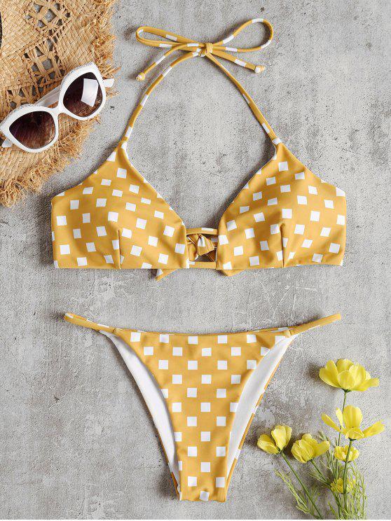 Bikini en Ensemble à Col Halter et Imprimé Géométrique - Brun Doré M