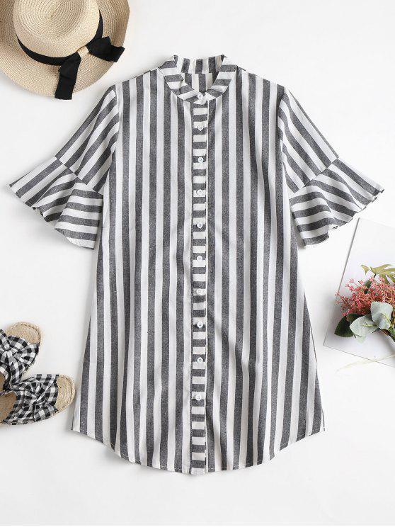 fancy Striped Bell Cuff Midi Shirt Dress - GRAY S