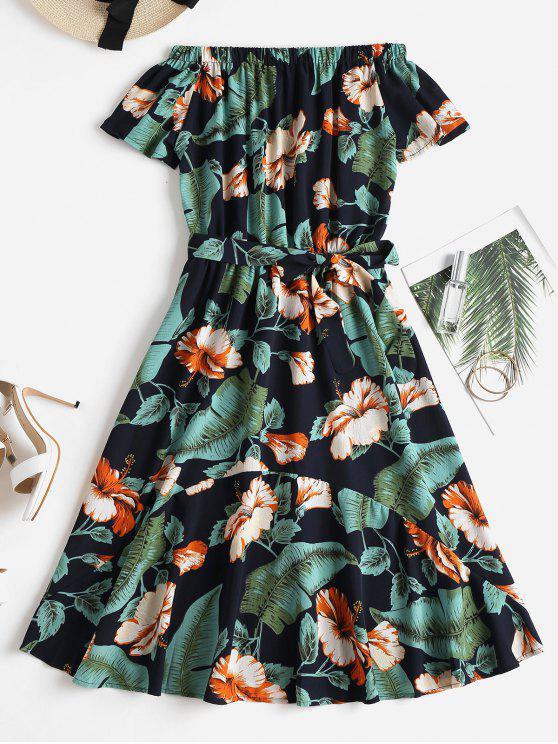 طباعة استوائية قبالة الكتف فستان ميدي - متعدد L