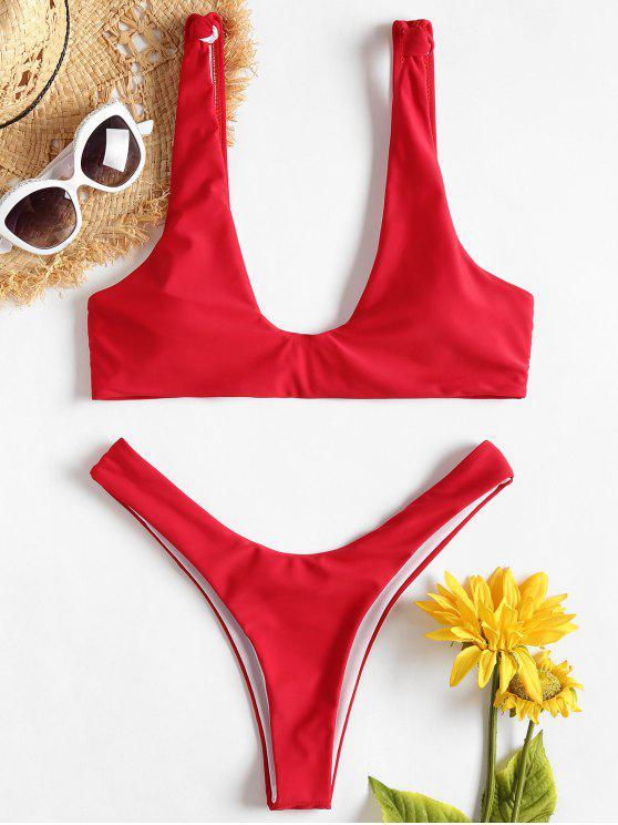 Knoten Hohes Bein Bikini - Liebes Rot M